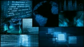 html : Montage of data code interface matrix and info typing on screens, computer data, global information. All videos and animations in this montage are available in my portfolio as separate elements. HD 1080 Seamless loop.-