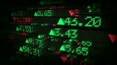 jones : High-tech motion graphics animation of stock prices on tickers streaming by. All company stock symbols are ficticious.  Seamless loop animation.- Stock Footage