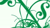 floreios : Animation element of long curvy vines growing with dollar symbols. Various US dollar bills background.- Vídeos