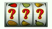 symbol : 3D Animation of slot machine game, spins twice and question marks win on second spin.-