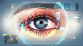 Human Eye Identification Scan Technology Interface 4K Стоковые видеозаписи