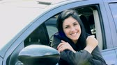 pretty : Woman smiling sitting in car happy