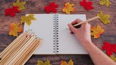 back to school concept, notebook with coloured pencils and autumn leaves and hand placing one extra pencil on blank page