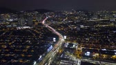 red traffic light : Aerial Hyperlapse footage of traffic on a city roads. Motion Blur