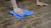 laminate : A man washes the floor cloth. Male hand wipes the laminate, the mens housekeeping, 4K Stock Footage