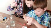 educação escolar : Chemistry experiments at home. Mom adds a drop of blue paint to the test tube with red liquid.