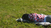 cansado : Unrecognizable woman with blue African braids sleeping on the lawn in the Park.