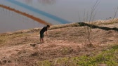 shaky : Man catches snakes in the dry grass on the riverbank. Stock Footage