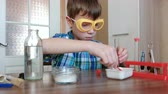 wooden spatula : Experiments on chemistry at home. Boy pours the powder into the vial with a spatula.
