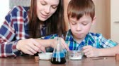 intently : Chemistry experiments at home. Mom and son make a chemical reaction with the release of gas in the flask. Stock Footage
