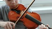 instrumentalist : Playing the violin. Unrecognizable seven years old boy playing the violin closeup. Front view. Stock Footage