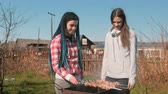 prýmky : Two women friends cook shashlik meat on top of charcoal grill on backyard. Talking and smiling together. Dostupné videozáznamy