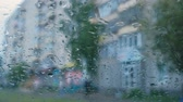 sity : View of the city from the car window through the rain. Blur.