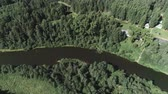 cabine : Aerial beautiful view of the river and village among the forest. Stock Footage