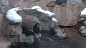 drenaggio : Close-up sewer drain from pipes during the winter