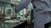 veg : Chef teaching cook trainee how to serve the cooked dish properly Stock Footage