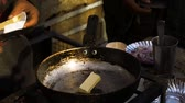 potato dishes : Cooking of indian street food Stock Footage