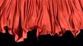 geçiş : 3D animated transition of the red window curtain moving with the wind, alpha matte is included Stok Video