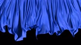persianas : 3D animated transition of the blue window curtain moving with the wind, alpha matte is included