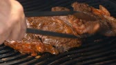 dym : Delicious seasoned beef on the grill Wideo