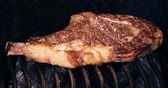fűszerezés : C4K closeup shot of the seasoned t-bone steak on a barbecue grill Stock mozgókép