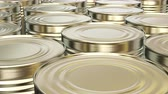 estanho : UHD looping 3D animation of the brass food cans
