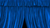 persianas : UHD 3D animation of the textured blue curtain with alpha matte