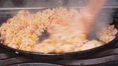 demir : UHD closeup shot of the rice being stir fried with an egg, shrimps and vegetables