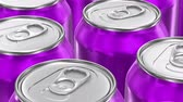 vista de cima : UHD looping 3D animation of the purple aluminum soda cans