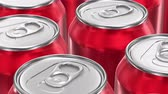 lata : UHD looping 3D animation of the red aluminum soda cans Vídeos