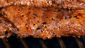 grill marinade : Chef turns the juicy Mexican style marinated beef steak on the grill in UHD
