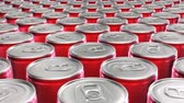 enlatado : Looping 60 fps 3D animation of the red aluminum soda cans in UHD Stock Footage