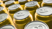Looping 60 fps 3D animation of the yellow aluminum soda cans in UHD Vídeos