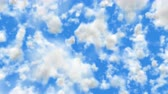 UHD camera fly through 3D animation of the realistic blue cloudy sky Stock mozgókép