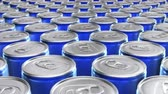 Looping 60 fps 3D animation of the blue aluminum soda cans in UHD