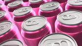 Looping 60 fps 3D animation of the pink aluminum soda cans in UHD Stock mozgókép