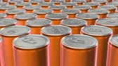 Looping 60 fps 3D animation of the yellow aluminum soda cans in UHD Stock mozgókép