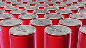 Looping 60 fps 3D animation of the red aluminum soda cans in UHD Stock mozgókép
