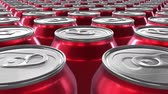 estanho : Looping 60 fps 3D animation of the red aluminum soda cans in UHD Stock Footage