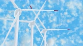 Wind farm against the blue cloudy sky UHD 3D animation Stock mozgókép