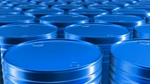rafineri : Looping 60 fps 3D animation of the blue oil barrels in UHD Stok Video