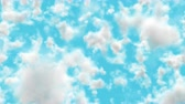 UHD realistic camera fly-through 3D animation of the blue cloudy sky with alpha matte Stock mozgókép