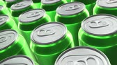 Looping 60 fps 3D animation of the green aluminum soda cans in UHD