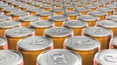 estanho : Looping 60 fps 3D animation of the yellow aluminum soda cans in UHD Stock Footage