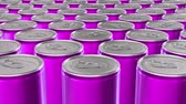 lata : Looping 60 fps 3D animation of the pink aluminum soda cans in UHD Vídeos