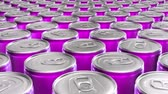 ebilmek : Looping 60 fps 3D animation of the pink aluminum soda cans in UHD Stok Video
