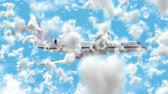 UHD 3D animated cinemagraph of the business jet aircraft in a realistic blue cloudy sky 무비클립