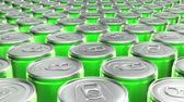 jídlo a pití : Looping 60 fps 3D animation of the green aluminum soda cans in UHD