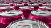 dönen : Looping 60 fps 3D animation of the red aluminum soda cans in UHD Stok Video