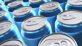 lata : Looping 60 fps 3D animated closeup of the blue aluminum soda cans in UHD Vídeos